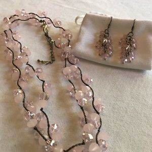 Pink Bauble Necklace and Earrings